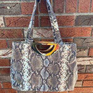 G.I.L.I. Leather snakeskin print gold handle tote